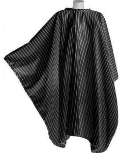 Vintage Barber Cape Black with white pinstripe